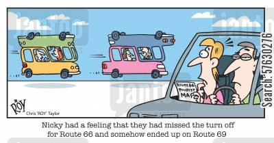 route 66 cartoon humor: Nicky had a feeling that they had missed the turn off for Route 66 and somehow ended up on Route 69.