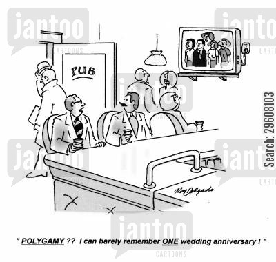 spouse cartoon humor: 'Polygamy?? I can barely remember one wedding anniversary!'
