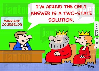 two-state cartoon humor: 'I'm afraid the only answer is a two-state solution.'