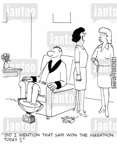 footbath cartoon humor: 'Did I mention that Sam won the marathon today?'