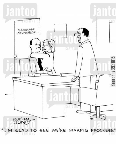 marriage therapists cartoon humor: 'I'm glad to see we're making progress.'
