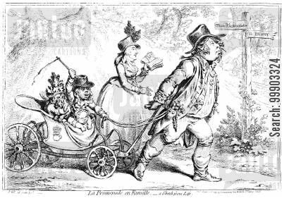 promenade cartoon humor: Duke of Clarence (Later William IV) Promenading with Family