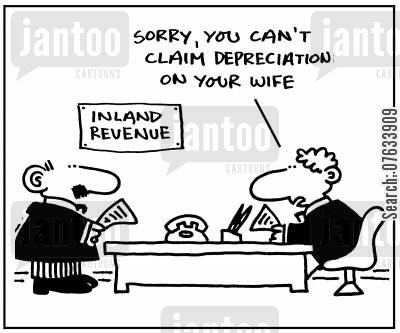 depreciation cartoon humor: Sorry, you can't claim depreciation on your wife.