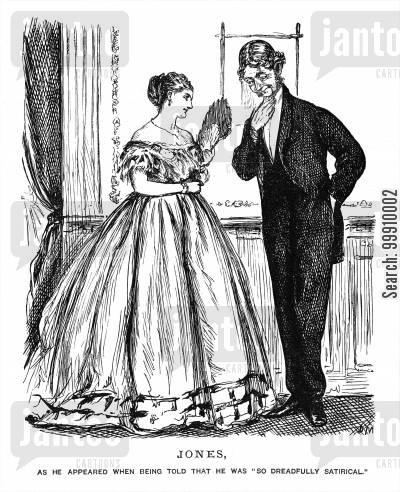 embarrassment cartoon humor: Man and lady flirting