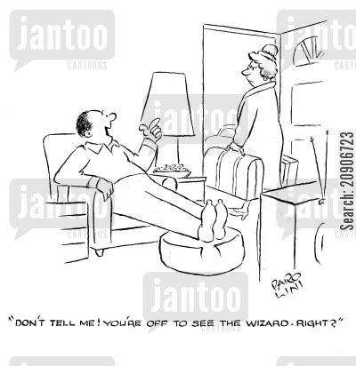 packing cartoon humor: 'Don't tell me! You're off to see the Wizard. Right?'