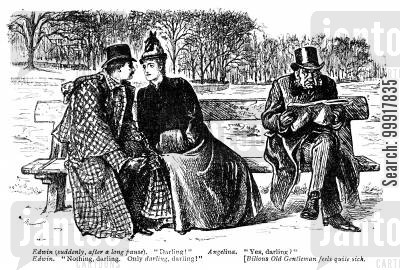 devoted cartoon humor: Romantic young couple on a bench next to a bilious old man.