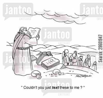 text messaging cartoon humor: Couldn't you just text these to me?