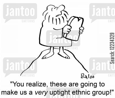 ethnic groups cartoon humor: 'You realize, these are going to make us a very uptight ethnic group!'
