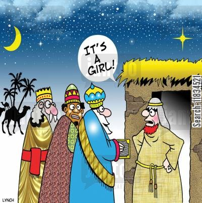 nativity stories cartoon humor: 'It's a girl.'