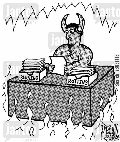 desk organizers cartoon humor: Burning and Rotting In Hell Desk Organisers