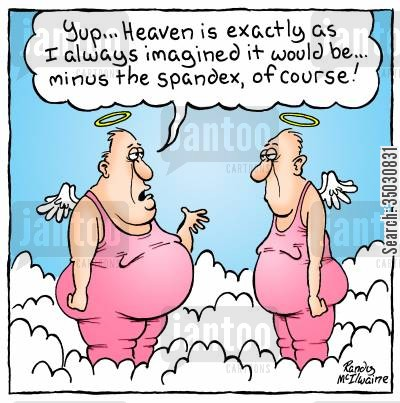 fabrics cartoon humor: 'Yup... Heaven is exactly as I always imagined it to be... minus the spandex, of course!'