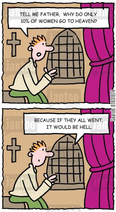 talk to god cartoon humor: Tell me father, why do only 10 of women go to heaven? Because if they all went, it would be hell.