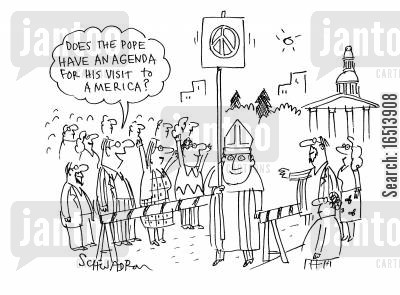 roman catholic cartoon humor: 'Does the pope have an agenda for his visit to America?'