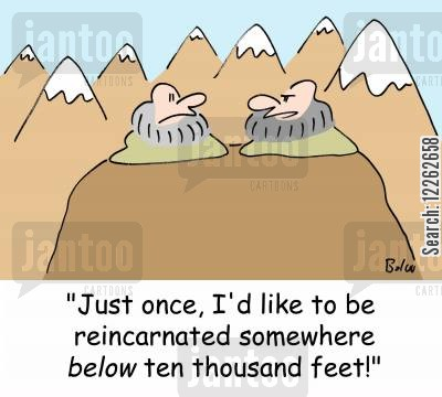 altitude cartoon humor: 'Just once, I'd like to be reincarnated somewhere BELOW ten thousand feet!'