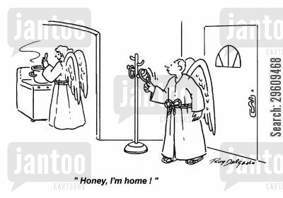 live together cartoon humor: 'Honey, I'm home!'
