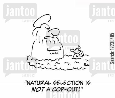 cop out cartoon humor: 'Natural selection is not a cop-out!'