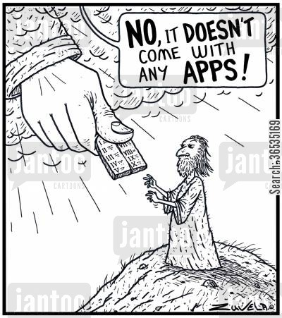 smart phones cartoon humor: 'No, it doesn't come with any apps!'