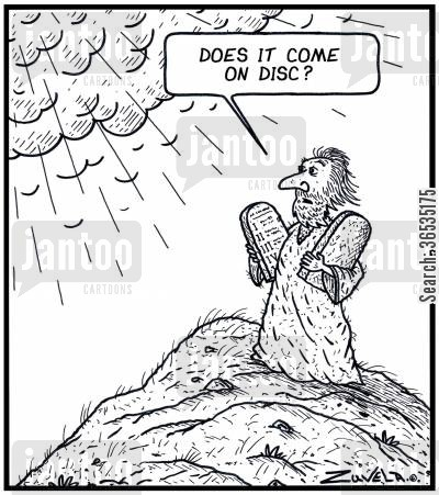 old testament cartoon humor: 'Does it come on Disc?'