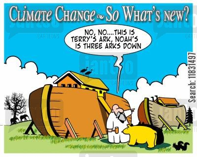 rising water cartoon humor: No, no, this is Terry's ark, Noah's is three arks down.
