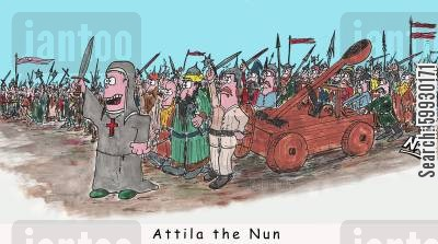 nun cartoon humor: Attila the Nun.