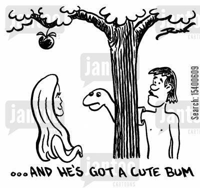 temptation cartoon humor: ...And he's got a cute bum.