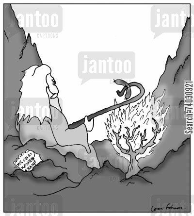 roasts cartoon humor: Moses uses the burning bush to roast a kosher frank.