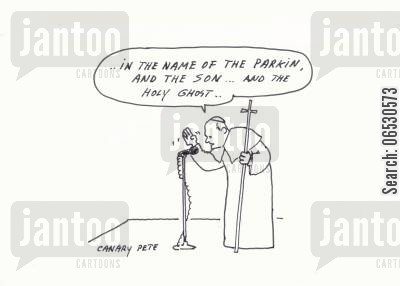 pope john paul cartoon humor: Pope's blessing.