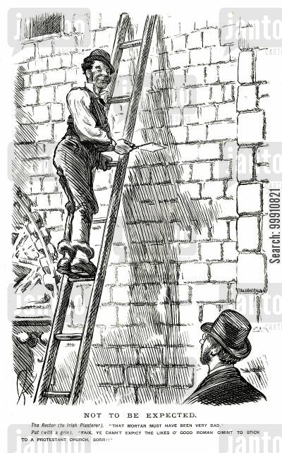 build cartoon humor: Irish plasterer working on a church