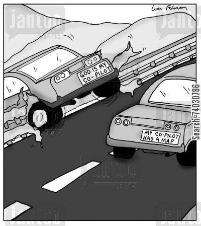 believer cartoon humor: Bumper Stickers: 'God is my co-pilot', 'My co-pilot has a map'