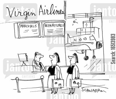 departures cartoon humor: Airports.