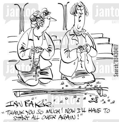 beads cartoon humor: 'Thank you so much! Now I'll have to start all over again!'