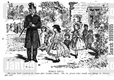 victorian christenings cartoon humor: Early Piety