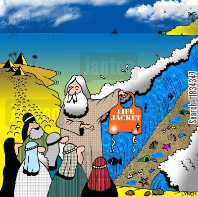 life jacket cartoon humor: Moses does a Life jacket demo