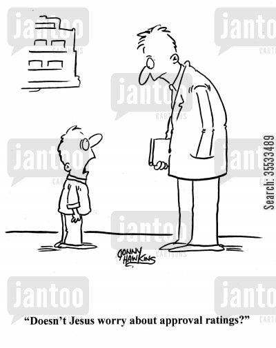 peer pressure cartoon humor: Kid to pastor: 'Doesn't Jesus worry about approval ratings?'