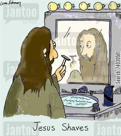 mustaches cartoon humor: Jesus Shaves