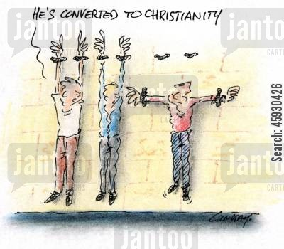 conversion cartoon humor: He's converted to Christianity.