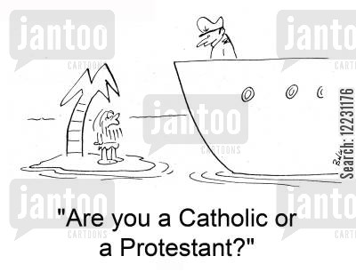 desert island cartoon humor: 'Are you a Catholic or a Protestant?'