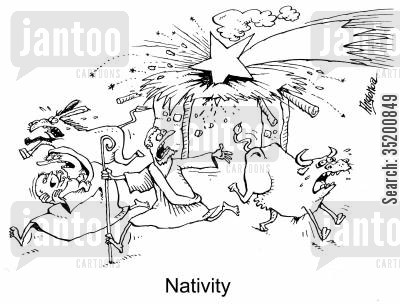 asteroid cartoon humor: Nativity with the star crashing into the stable.