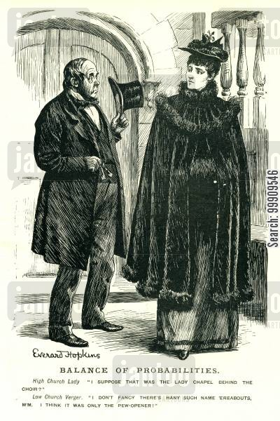 religious building cartoon humor: A Verger and a Lady.