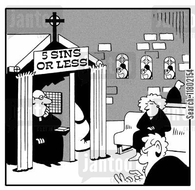 catholic priest cartoon humor: Five sins or less.