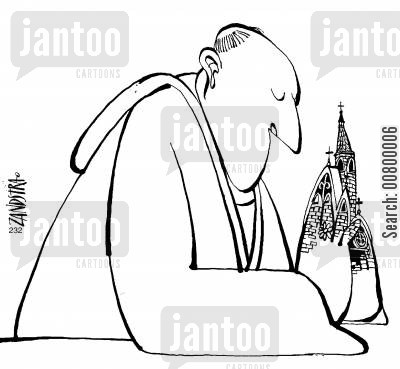 architecture cartoon humor: Praying monk with steeple hands.