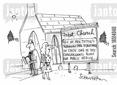 church services cartoon humor: All of Rev.Tuttle's sermons are videotaped in case one of congregates runs for public office.