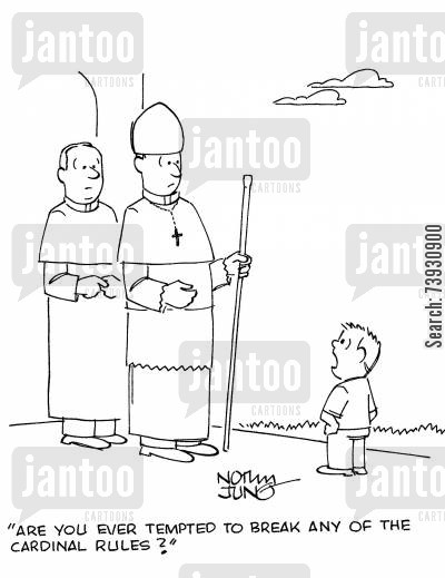 clergyman cartoon humor: 'Are you ever tempted to break any of the cardinal rules?'