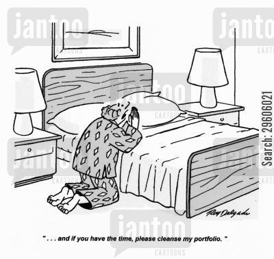 portfolio cartoon humor: '... and if you have the time, please cleanse my portfolio.'