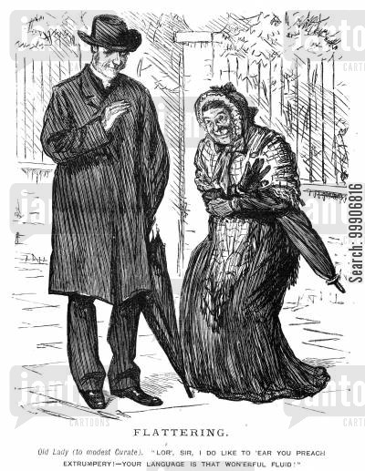 parish priest cartoon humor: An old lady complementing a curate on his speaking skills