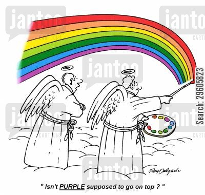 coloring cartoon humor: 'Isn't purple supposed to go on top?'