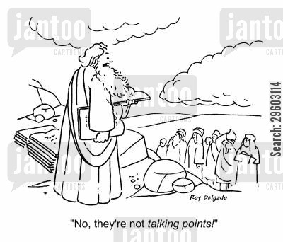 commanding cartoon humor: 'No, they're not talking points!'