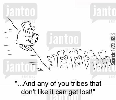 holy law cartoon humor: '...And any of you tribes that don't like it can get lost!'