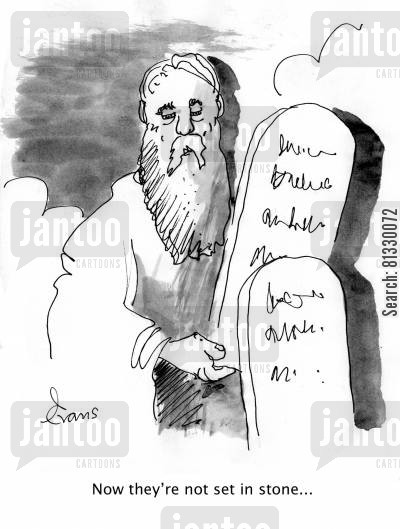 instruction cartoon humor: 'Now they're not set in stone...'