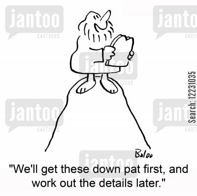 down pat cartoon humor: 'We'll get these down pat first, and work out the details later.'